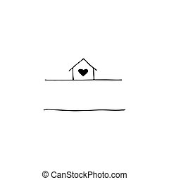 Vector hand drawn icon, a house. Logo element for pets related business. Illustration for pet hotel, shop or cafe, veterinary clinic. Domestic animals. Black on white isolated symbol.