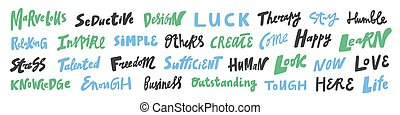 Vector hand drawn sticker logo words set collection. Hand drawn lettering set for social media content