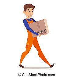 Vector happy cartoon character of home mover worker