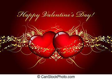 Vector Happy Valentines Day card with hearts