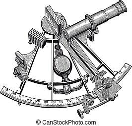 Full Vector illustration Illustration of a High Detail Sextant Engraving