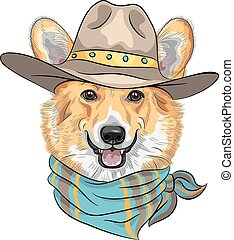 Hipster dog Pembroke Welsh corgi breed in hat and neckerchief