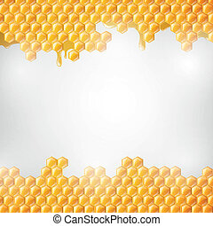Vector Illustration of a Natural Background with Honeycombs and the Bees