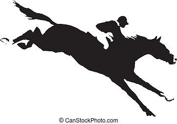 Vector drawing a horse with a jockey participating in the competition obstacles to overcome - Jumping.