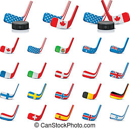 Vector ice hockey sticks/country2