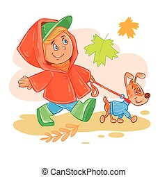 Vector icon of small boy walks with his puppy