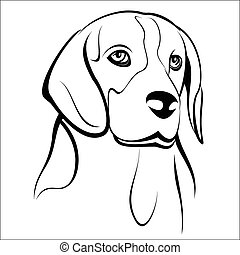 Vector illustration - Beagle head on a white background.