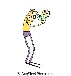 Cartoon happy father and newborn