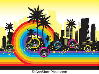 Vector illustration - Cityscape with palms, loudspeakers & rainbow