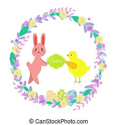 Vector illustration. Easter greeting card. Cute flat illustration with rabbit, chicken, easter eggs, flower wreath, berries, leaves. Isolated on white background. Can be used for animations, postcards, web design.