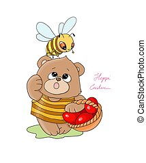 vector illustration Heppy Easter little bee with a teddy bear carry a basket with red eggs
