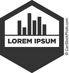 vector illustration hexagon with building icon logo design