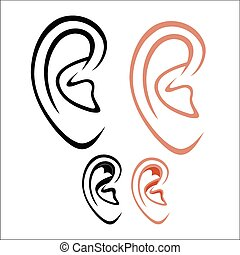 Vector illustration : Human ear on a white background.