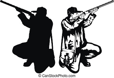 Vector illustration hunter with rifle and silhouette