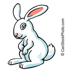 Vector illustration in cartoon style isolated on white. Rabbit.