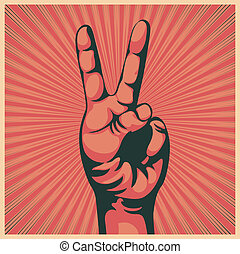Vector illustration in retro style of a hand with victory sign