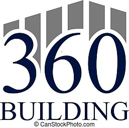 Vector illustration number and building icon logo design