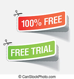 Vector illustration of 100% free and free trial labels