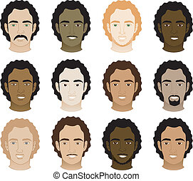 Vector Illustration of 12 different Curly Afro Men Faces.