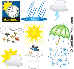 Vector Illustration of 9 Weather Icons. Very Easy to edit.