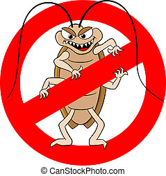 vector illustration of a cockroache warning sign