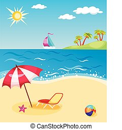 vector illustration of a colorful beach