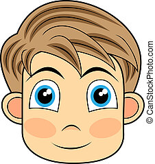 vector illustration of a cute and happy looking face of a young boy. No gradient.