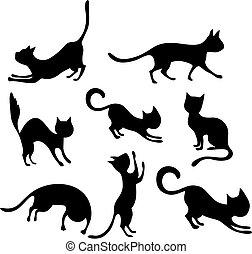 vector illustration of a cute cat set
