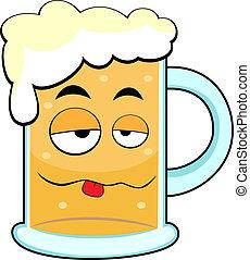 vector illustration of a cute drunk beer mug. No gradient.