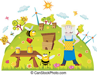 vector illustration of a cute farm card