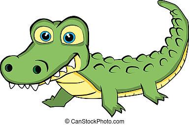 Vector Illustration of a Cute Looking Crocodile. No gradient.