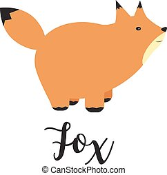 Vector Illustration of a Fox. Greeting card with cute fox. Vector cartoon illustration of baby animals. Logo, badges, banners, emblem and design elements.