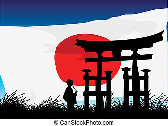 vector illustration of a Japanese style architectural heritage