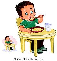Vector illustration of a little boy eating breakfast