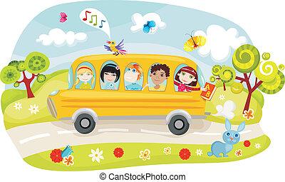vector illustration of a school bus