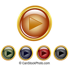 vector illustration of a set of a play buttons.