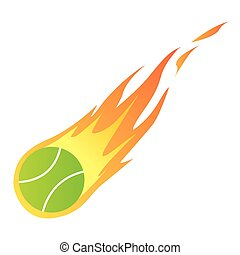 Vector illustration of a Tennis Ball in Fire isolated on white