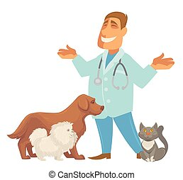 Vector illustration of a veterinarian with cute puppy dog and cat .