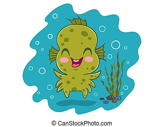 water monster in kawaii style
