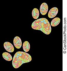 animal paw print on black background