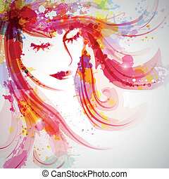 Vector Illustration of an Abstract Fashion Woman