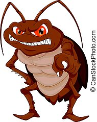 vector illustration of angry cockroach cartoon
