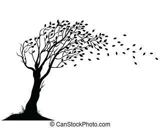 Vector illustration of Autumn tree silhouette