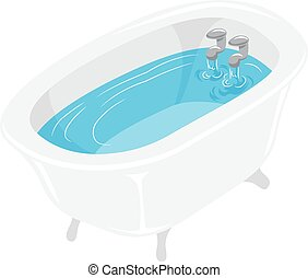 Vector Illustration of Bath Tub filled with water