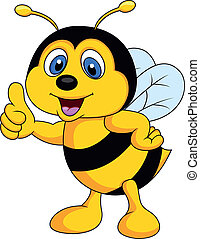 Vector illustration of Bee cartoon thumb up