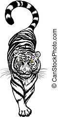 Vector illustration of black and white Crouching Tiger with yellow eyes.