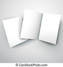 blank folded paper flyer with soft shadow isolated on white background