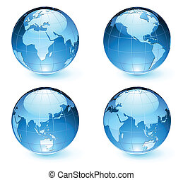 Vector illustration of blue Glossy Earth Map Globes different angles
