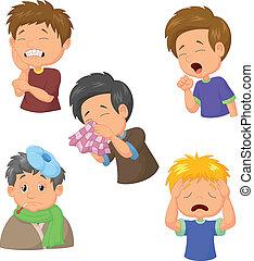 Vector illustration of Boy sick cartoon collection
