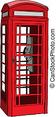Vector illustration of British red phone booth in London